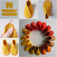 How to make easy felt baby shoes (y)