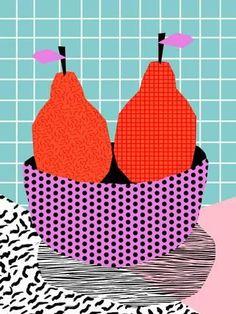 Sprung - throwback style vintage mod retro neon fruit still life pop art abstract pattern Art Print by Wacka - X-Small Fruit Pattern, Pattern Art, Abstract Pattern, Print Patterns, Abstract Art, Rm Drake, Art Pop, Faber Castell, Journal D'art
