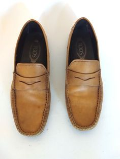 b527f246f802f0 TODS Mens Dress Shoes Soft Brown Casual Italian Penny Loafer Size 8.5M   fashion