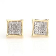 Natural Diamond Stud Earrings In 18K Yellow Gold Plated Sterling Silver by JewelryHub on Opensky