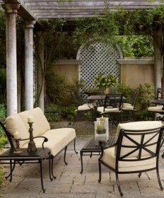 wrought iron pergola patio traditional with black metal patio furniture partition wall - Patio Furniture Ideas