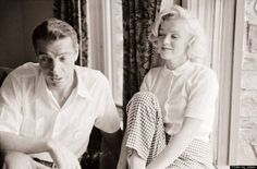 Marilyn Monroe and Joe Dimaggio at the Fairmont Banff Hotel in Banff, Canada, five months before their wedding. August 19, 1953