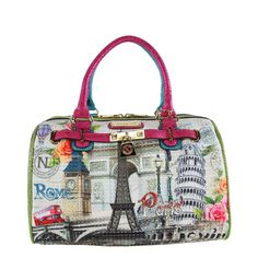 Celebrate your love of travel by carrying this Nicole Lee handbag featuring images of major European landmarks. Made from faux leather and nylon, this satchel handbag includes a double handle for easy
