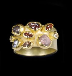Petra Class ~ Ring ~ 22k and 18k Gold, 2.9ct Diamonds, Three Champagne Facetted Marquis, Two White Facetted Rounds, Four Crystals