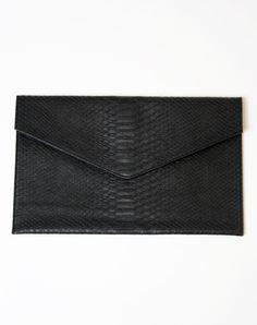 Motel Envelope Clutch in Black Python http://www.motelrocks.com/shop/products/Motel-Envelope-Clutch-in-Black-Python.html #motelrocks #black #clutch #bag #python #snakeskin #moleskin #vintage