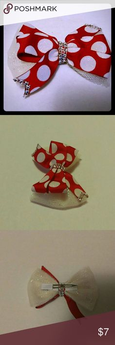 Red/white polka dot hair bow Festive red and white polka dot bow trimmed in rhinestone mesh. Base bow glitter white mesh on a lined clip. Great for gifts and the holidays Christmas, Valentine's or just because. Accessories Hair Accessories