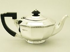 A fine antique Edward VIII English sterling silver teapot in the Art Deco style; an addition to our silver teaware collection http://www.acsilver.co.uk/shop/pc/Sterling-Silver-Teapot-Art-Deco-Style-Antique-Edward-VIII-49p4542.htm