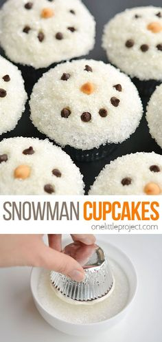 These easy snowman cupcakes would be perfect for a winter birthday party, a Christmas party, or just a fun baking activity to do with the kids on a Sunday afternoon. Christmas Recipes, Holiday Recipes, Christmas Ideas, Xmas, Snowman Cupcakes, Christmas Cupcakes, Yummy Recipes, Dessert Recipes, Desserts
