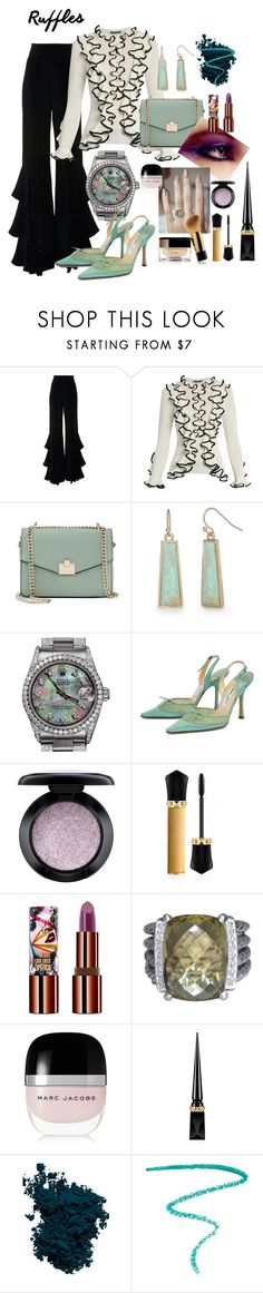 """""""Add Some Flair:  Ruffled Tops"""" by queenbeezzer ❤ liked on Polyvore featuring Alexis, Alexander McQueen, Jennifer Lopez, New Directions, Rolex, Jimmy Choo, MAC Cosmetics, Christian Louboutin, Teeez and David Yurman"""