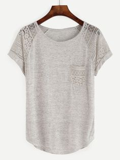 Casual Plain Regular Fit Round Neck Short Sleeve Grey Contrast Lace Raglan Sleeve Tee - Inspirational T Shirts - Ideas of Inspirational T Shirts - All Casual Plain Regular Fit Round Neck Short Sleeve Grey Contrast Lace Raglan Sleeve Tee Zerschnittene Shirts, Cut Up Shirts, Tie Dye Shirts, Party Shirts, Short Sleeve Shirts, Long Sleeve, Stitch Fix Outfits, One Direction Shirts, Modelos Fashion