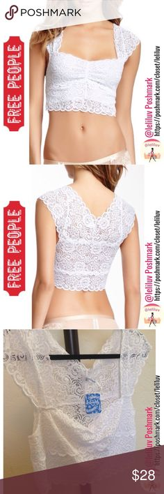 """FREE PEOPLE Scalloped lace crop top NWT. Includes Free People scalloped lace crop top. Stretchy all over, great worn by itself or under a jacket, shirt or dress. This listing includes the top only (no bottom).   - Cap sleeves, Elasticized/stretchy - Allover lace construction, Scalloped lace trim - Approx. 16"""" length, Imported - Fiber Content: 90% nylon, 10% spandex SMOKE-FREE NO TRADES Free People Tops Crop Tops"""
