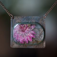 Resin & Copper Pendant with etched backplate and real dried flower jewelry.
