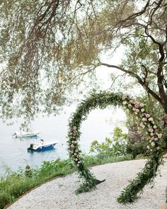 Beautiful circle Arch in pink shades! Corfu Wedding, Wedding Arches, Floral Arch, Flower Decorations, Flower Designs, Pink Flowers, Shades, Romantic, Water