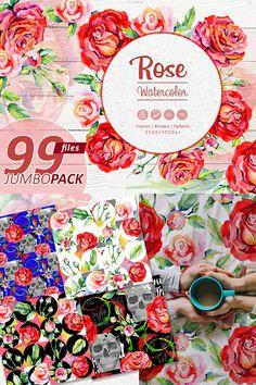 Wildflower elegant red roses flowers watercolor set of 99 files :) Create!;) #PNG #Watercolor #Illustration.
