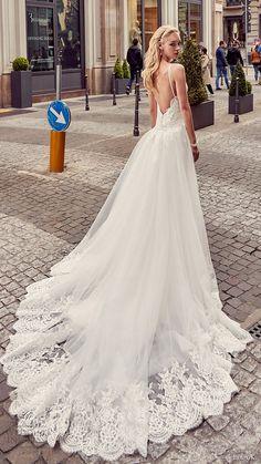 EDDY K. MILANO bridal 2017 sleeveless spaghetti straps lace bodice sheath wedding dress (md201) bv overskirt train #bridal #wedding #weddingdress #weddinggown #bridalgown #dreamgown #dreamdress #engaged #inspiration #bridalinspiration #weddinginspiration #weddingdresses