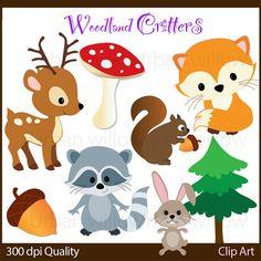 WOODLAND CRITTERS 10 piece clip art set in by LittlePumpkinsPix
