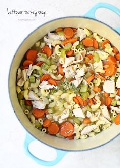 One-Pot Leftover Turkey Soup Recipe - I Heart Naptime - - The perfect meal to use up all that leftover turkey from the holidays! Packed with fresh veggies, herbs and noodles, this leftover turkey soup recipe is super filling and comforting! Leftover Turkey Soup, Thanksgiving Leftover Recipes, Thanksgiving Turkey, Soup Recipes, Cooking Recipes, Healthy Recipes, Recipies, Healthy Soups, Healthy Dinners
