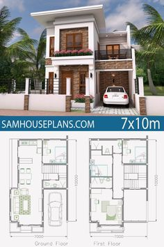 Home Plan Meter 4 Bedrooms - Sam House Plans 2 Storey House Design, Duplex House Design, Duplex House Plans, New House Plans, 2bhk House Plan, House Floor Plans, Modern Small House Design, Simple House Design, Minimalist House Design