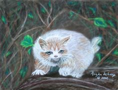 "©2012, Magda de Lange, ""Scaredy Cat"", Pastel on Paper, 39x30 cm  Available at http://www.magdasart.com"