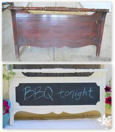 footboard, spray paint, spray chalkboard paint, and optional drawer pulls = message center