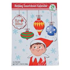 Advent! Kids look forward to their chocolate every night! Elf on the Shelf Holiday Christmas Candy Chocolate Countdown Calendar - http://www.amazon.com/Elf-Shelf-Christmas-Chocolate-Countdown/dp/B016YDZ7R2/ref=sr_1_8?m=A2P937E183PRRG&s=merchant-items&ie=UTF8&qid=1449506323&sr=1-8