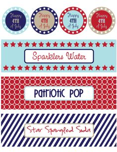 Free Fourth of July Printables - Pretty My Party Desserts Fourth Of July, 4th Of July Party, July 4th, Patriotic Party, Patriotic Decorations, July Holidays, Holidays And Events, I Party, Party Ideas