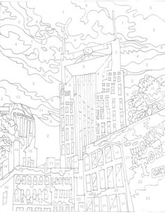 Items Similar To Nashville Paint By Numbers Coloring Sheet 16 X 20 On Etsy