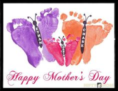 Toddler Footprint Butterflies – Mother's Day Gift Idea A fun finger painting picture for toddlers and babies is footprint butterflies with different colors. It makes a perfect Mother's Day gift. Great Mothers Day Gifts, Fathers Day Crafts, Mother Day Gifts, Happy Mothers Day, Baby Crafts, Toddler Crafts, Diy And Crafts, Crafts For Kids, Preschool Crafts