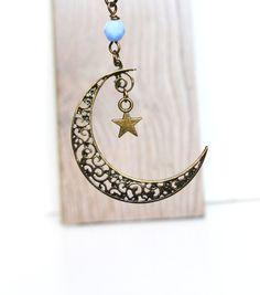 Crescent Moon Necklace Sky Blue Czech Beads Ornate by LOVEnLAVISH, $23.00