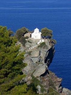 The stunning Church of St John of the Small Castle (Agios Ioannis) - where the Mamma Mia! wedding scene was filmed, on the Greek island of Skopelos