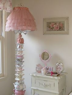 Teapot and teacup lamp.  Cindy Brown Design