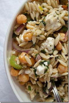 I want to do this with rice! Minted orzo salad with chickpeas and feta