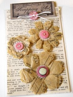paper and buttons, tied up with string.Brown paper and buttons, tied up with string. Fabric Flowers, Paper Flowers, Crocheted Flowers, Paper Art, Paper Crafts, Book Crafts, Sewing Room Decor, Scrapbooking, Candy Cards