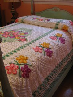 Vintage Flower Basket Chenille Twin or Full by PicklePigFeet