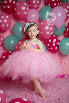 The Kinley Tutu Dress Pink Aqua Birthday 1st by KutieTuties cake smash, pageant, photo shoot, pictures, baby girl, infant, toddler, 1st birthday