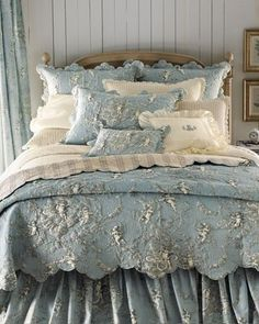 Quilted French Toile in Blue-Gray and Beige and Striped Gray-Beige (Taupe) Linen Bed Set - Unknown Maker.