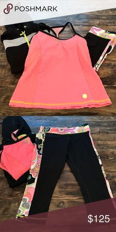 Trina Turk Workout Outfit Bright colors and super comfortable! I just don't wear it enough. All size XS - capris, top with built in cups/bra, and zip-up hoodie. Trina Turk Pants Leggings