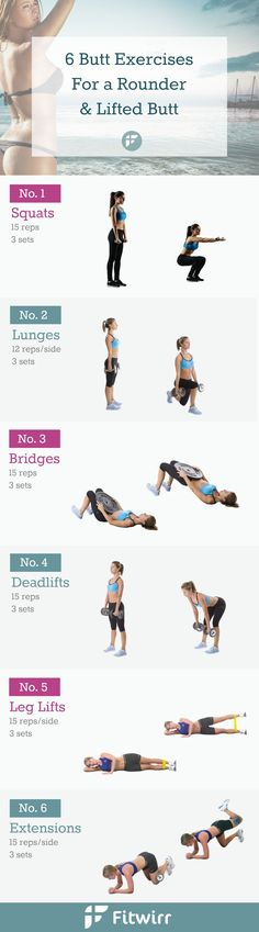 6 Simple butt exercises to a sculpted and lifted butt. #buttexercises #glutes #squats