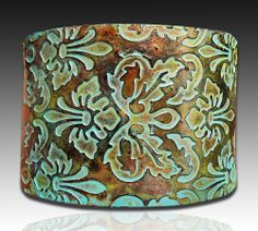 Brocade copper and patina polymer clay cuff bracelet. $16.00, via Etsy.