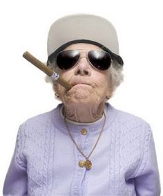 Funny crazy old woman smoking cigar picture