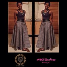 Shweshwe maxi skirt African Print Dress Designs, African Print Fashion, African Design, Fashion Prints, Ankara Designs, African Prints, African Style, African Attire, African Dress