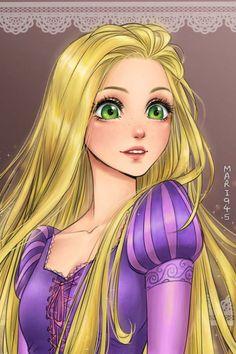 Las princesas disney dibujadas en modo anime: Rapunzel