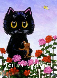 Funny Valentine Black Cat Mouse Card Art print of Painting ACEO art Creationarts…