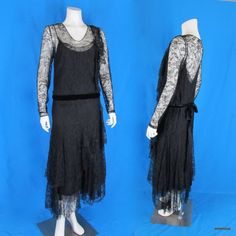 Vintage 1920s Black Lace Evening Dress Side Jabots + Chemise Slip S-M  #Handmade http://stores.ebay.com/mmmostsoldtimestuffandthreads