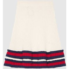 Gucci Knit Wool Skirt (€745) ❤ liked on Polyvore featuring skirts, white, high-waist skirt, pleated a line skirt, gucci, knee length a line skirt and high-waisted skirts