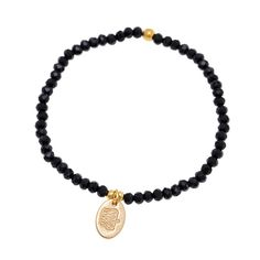 Perlenarmband Brass golden schwarz facettiert oval Krone...