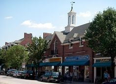 A quaint central street in the town of Belmont MA