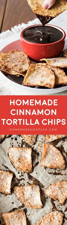 Homemade Cinnamon Tortilla Chips! These baked cinnamon tortilla chips are easy to make and perfect for dipping all sorts of sweet desserts and frostings. They're great for snacking, too!   HomemadeHooplah.com