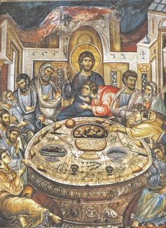 """theraccolta: """" The Mystical Supper, fresco from the Holy Monastery of Vatopedi, Mount Athos """" Byzantine Icons, Byzantine Art, Religious Icons, Religious Art, Fresco, Last Supper, Catholic Art, Traditional Paintings, Orthodox Icons"""
