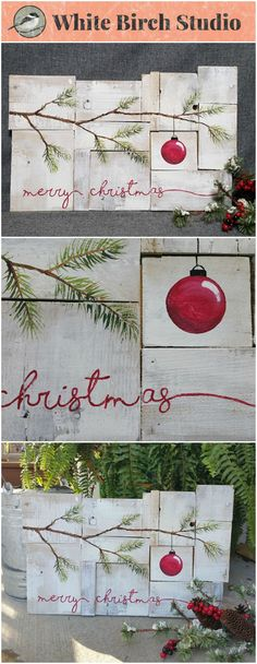 "This is a picture of the ORIGINAL. Each piece is a unique acrylic painting on reclaimed Pallet boards. This unique piece is appx. 20"" wide x 14"" tall  This abstract Christmas art piece is on a white-washed background with the word ""merry christmas"" painted in red. It is perfect for a personalized rustic touch to your Christmas decorating."